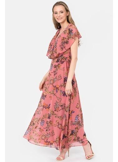 İroni Çiçekli Uzun Şifon Elbise Pembe